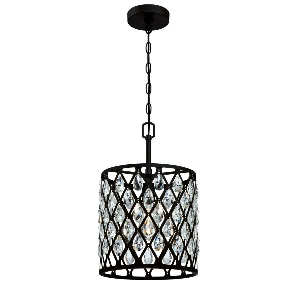 Waltz 1-Light Matte Black mesh with Crystals Pendant