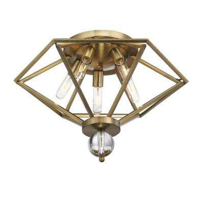 Penrose 5-Light Warm Brass Semi-Flushmount