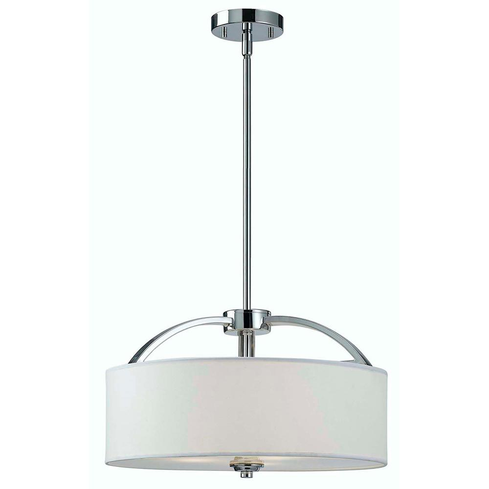 Canarm Milano 3 Light Chrome Chandelier With White Fabric Shade