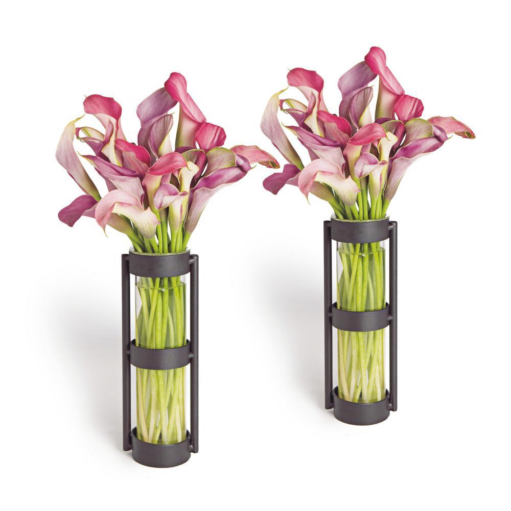 Danya B Urbanne Rustic Black Metal Glass Cylinder Decorative Vases Set Of 2 Qb101 2 The Home Depot