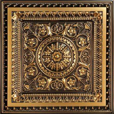 La Scala 2 ft. x 2 ft. PVC Glue-up or Lay-in Ceiling Tile in Antique Gold