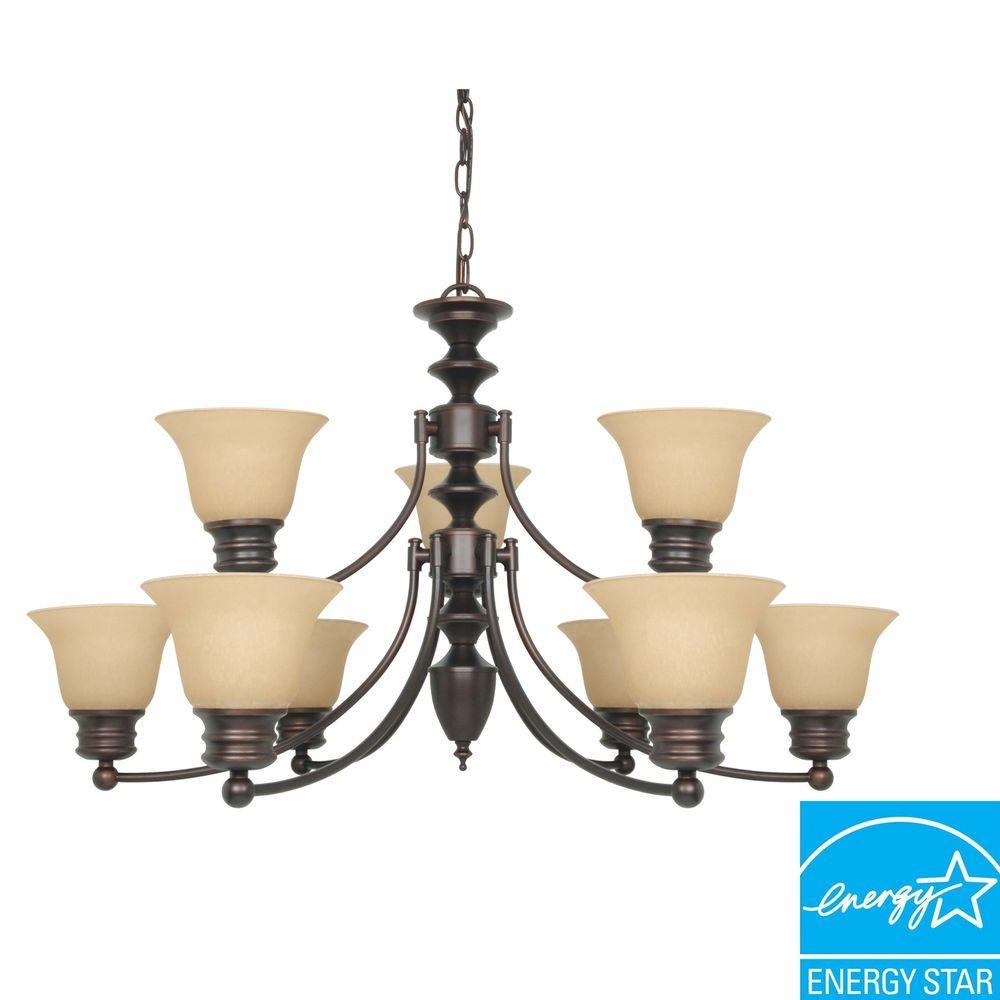 9-Light Mahogany Bronze Hanging Chandelier