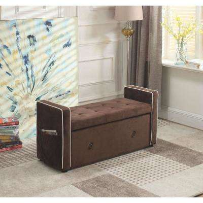 22 in. Brown Shoe Storage Bench