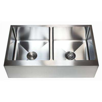 36 in. x 21 in. x 10 in. 16-Gauge Stainless Steel Farmhouse Apron 50/50 Flat Front Double Bowl Kitchen Sink
