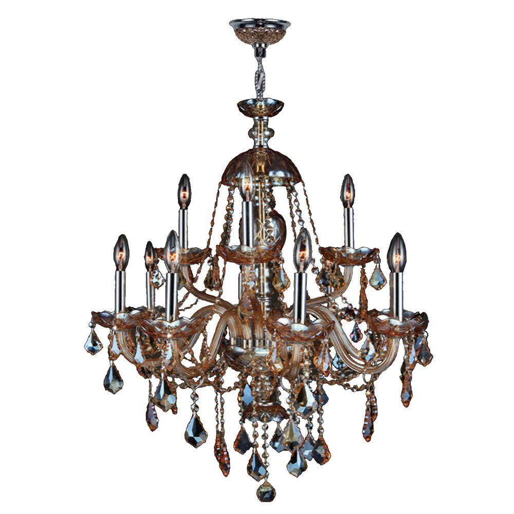 Worldwide Lighting Provence Collection 12-Light Chrome Chandelier with Amber Crystal