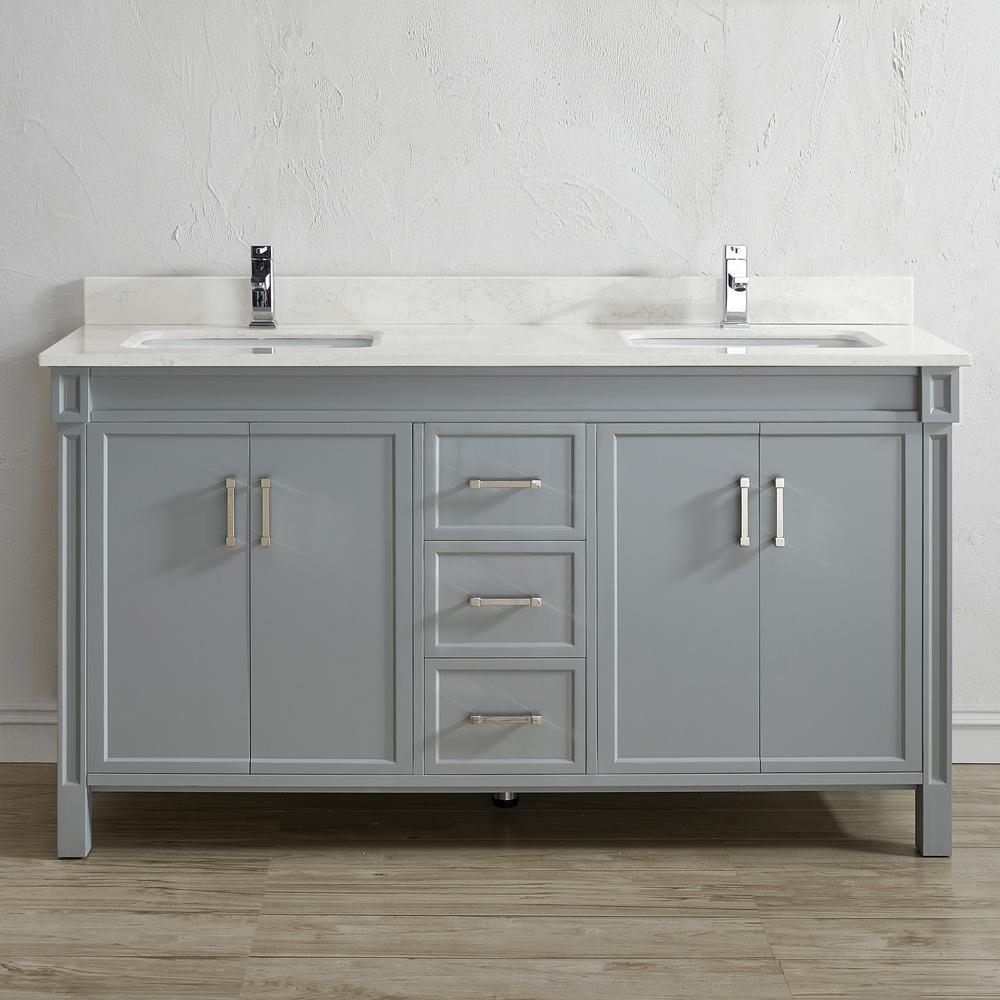 Serrano 63 in. W x 22 in. D Vanity in Oxford Gray with Quartz Vanity Top in White with White Basin