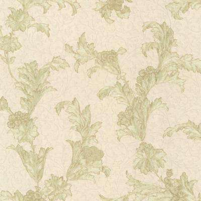 Empire Olive Floral Scroll Wallpaper