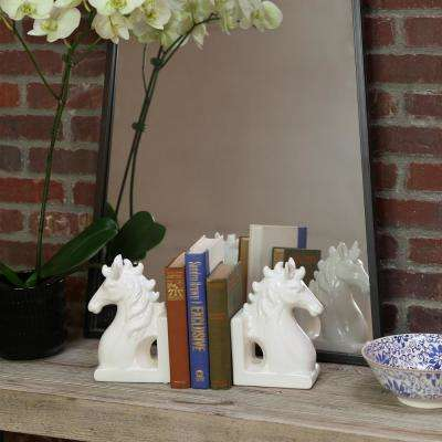 8.5 in. H Horse Decorative Sculpture in White Gloss Finish (Set of 2)