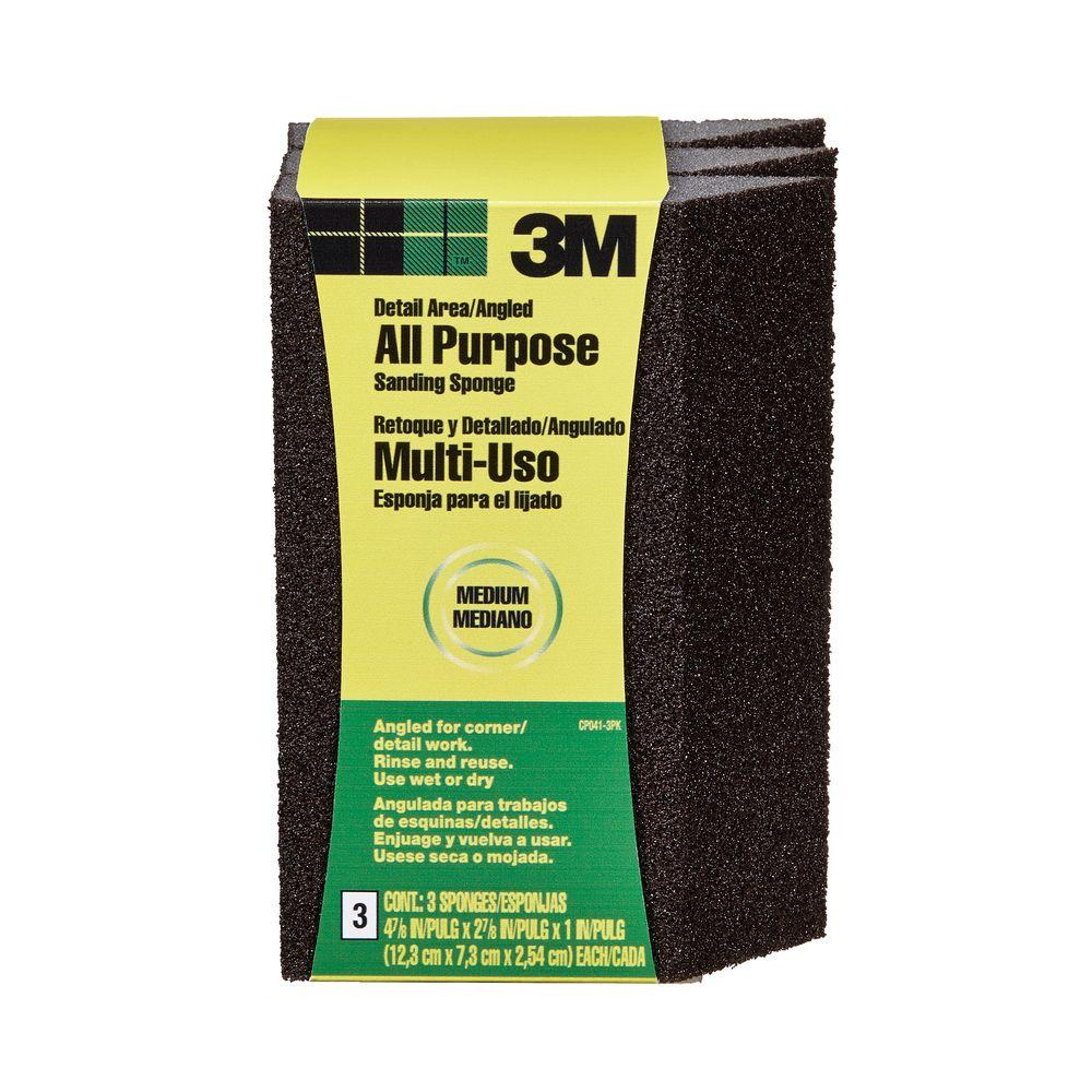 2-7/8 in. x 4-7/8 in. Medium-Grit Single Angled Sanding Sponge (3-Pack)