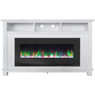 San Jose 58 in. Freestanding Electric Fireplace Entertainment Stand in White with 50 in. Insert and Crystal Rock Display