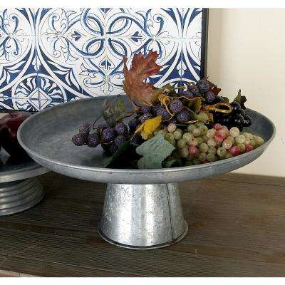 16 in. x 7 in. Farmhouse-Inspired Galvanized Iron Cupcake Stand