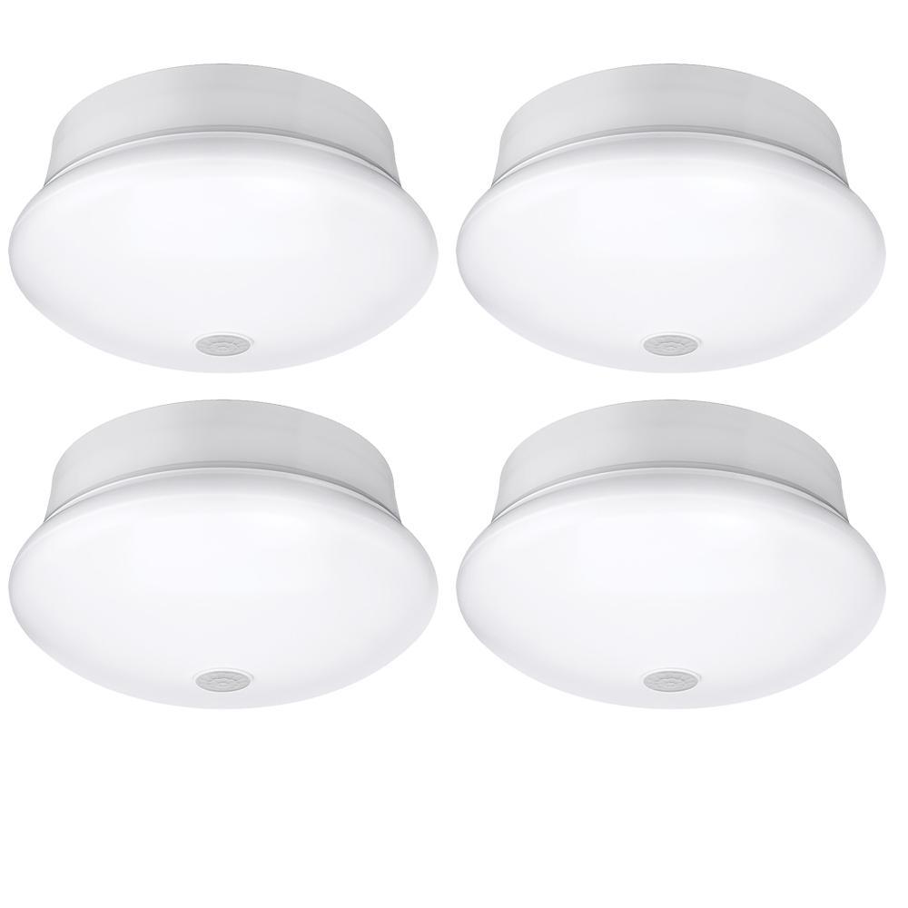 Spin Light 7 in. White LED Flush Mount Ceiling Light Adjustable PIR Motion Sensor 830 Lumens 4000K (4-Pack)