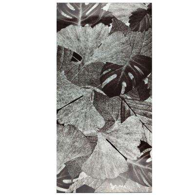 Fossil Panorama Gingko Silver 11-3/4 in. x 23-3/4 in. Glass Wall Tile