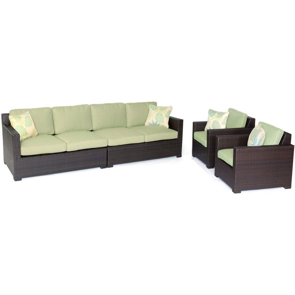 Hanover Metropolitan 4 Piece All Weather Wicker Patio Seating Set With  Avocado Green Cushions
