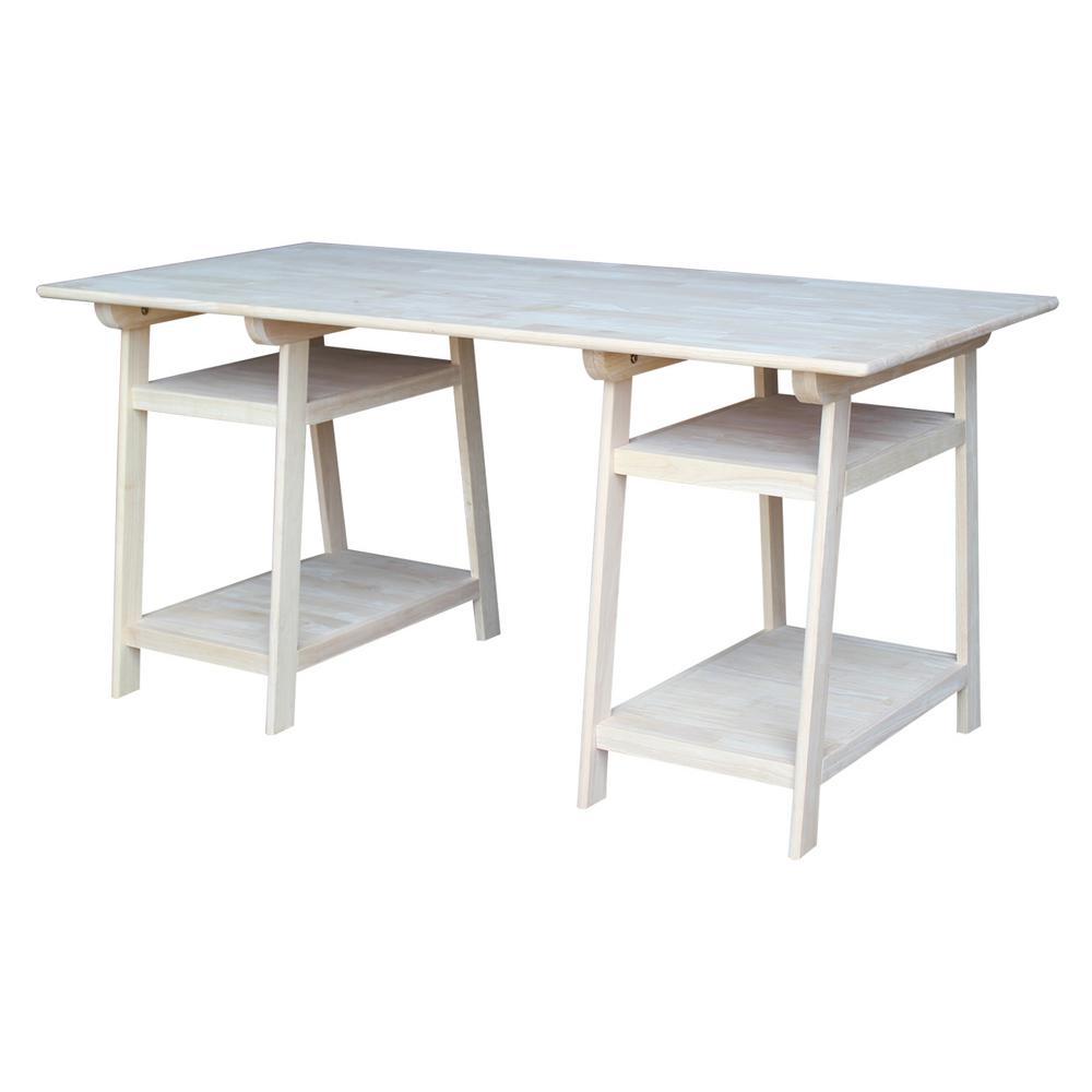 International Concepts Unfinished Shelves Desk