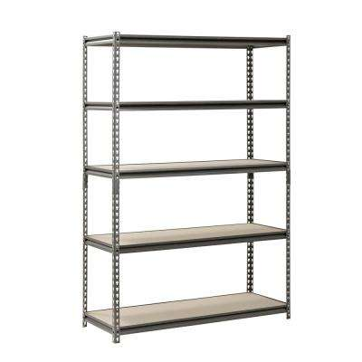 72 in. H x 48 in. W x 18 in. D 5-Shelf Z-Beam Boltless Steel Shelving Unit in SilverVein