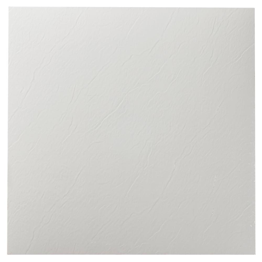 Achim Sterling White Solid 12 In. X 12 In. Peel And Stick