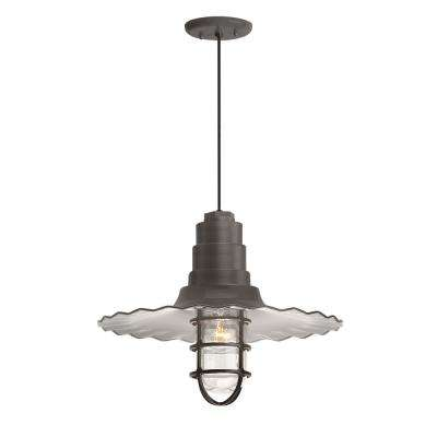 Radial Wave 16 in. Shade 1-Light Textured Bronze Finish Pendant