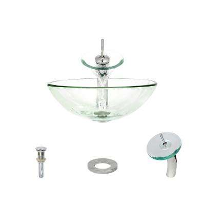 Glass Vessel Sink in Crystal with Waterfall Faucet and Pop-Up Drain in Chrome
