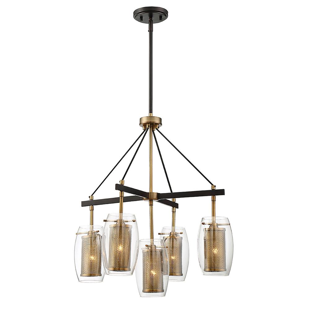 5-Light Warm Brass Pendant