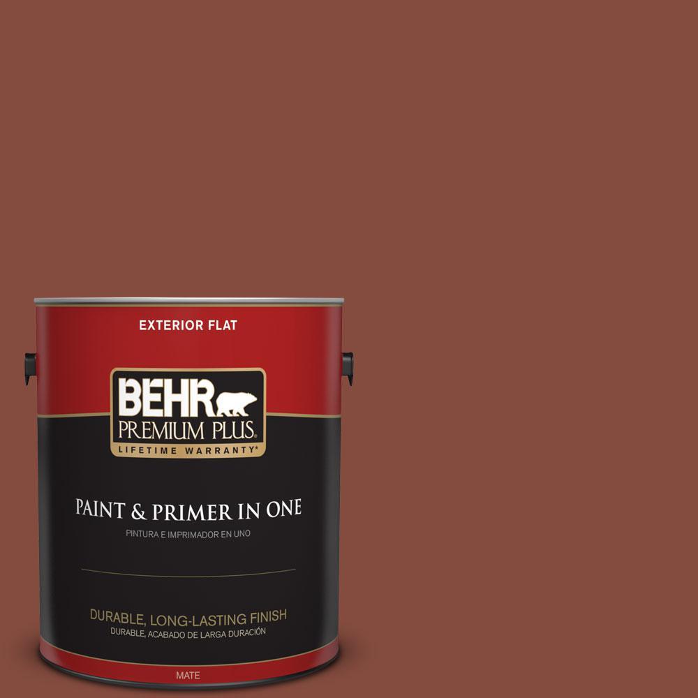 BEHR Premium Plus 1-gal. #S160-7 Red Chipotle Flat Exterior Paint