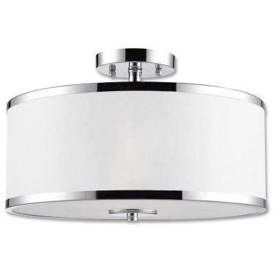 Concord Collection 2-Light Chrome Semi-Flush Mount Light Fixture with White Fabric Shade