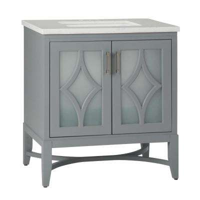 Bristol 30 in. Bath Vanity in Grey with Engineered Marble Extra Thick Vanity Top in Carrara White with White Basin
