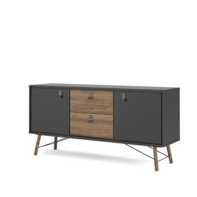 Ry Black Matte/Walnut 2 Door, 2 Drawer Sideboard
