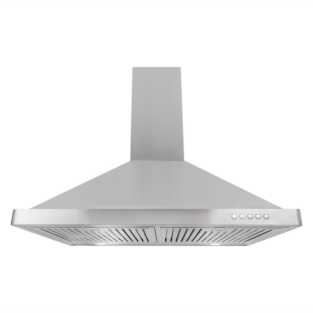 convertible wall mount range hood in stainless steel with led lighting and permanent the home depot
