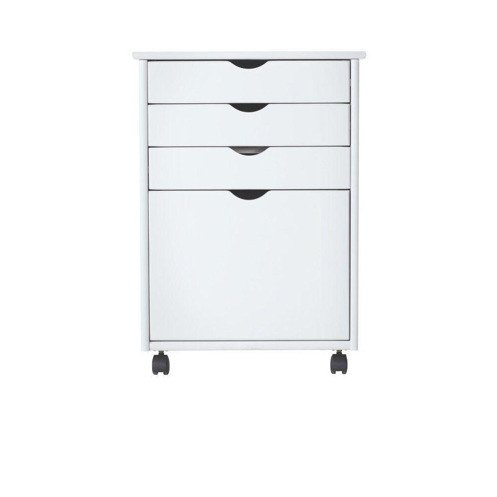W 4-File Storage Cart in White  sc 1 st  Home Depot & Drawer Storage - Storage Bins u0026 Totes - Storage u0026 Organization - The ...