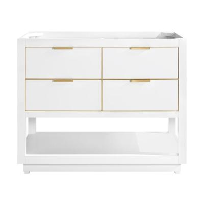 Allie 42 in. Bath Vanity Cabinet Only in White with Gold Trim