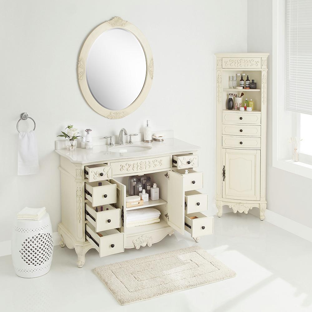Winslow 48 in. W x 22 in. D Vanity in Antique White with Marble Vanity Top in White with White Sink