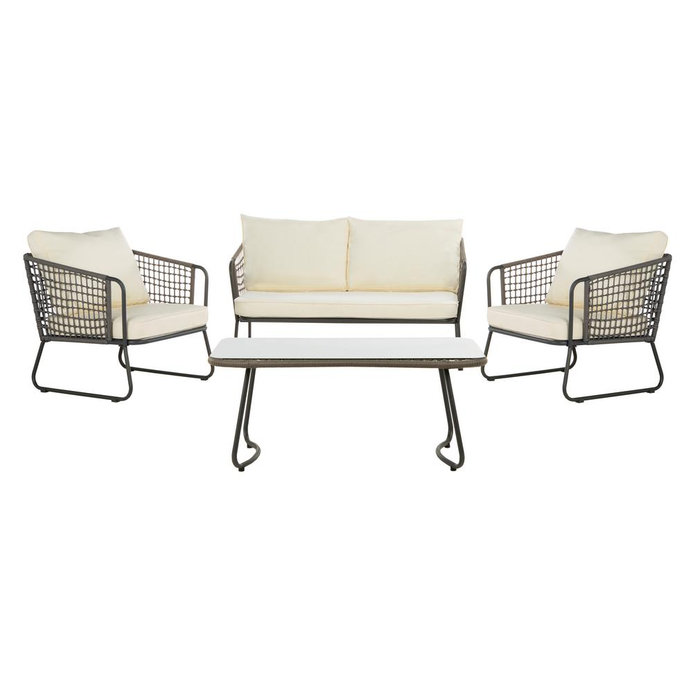 Safavieh Benjin Gray 4-Piece Wicker Patio Conversation Set with White Cushions