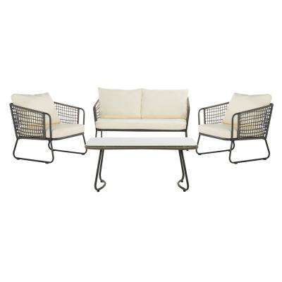 Benjin Gray 4-Piece Wicker Patio Conversation Set with White Cushions