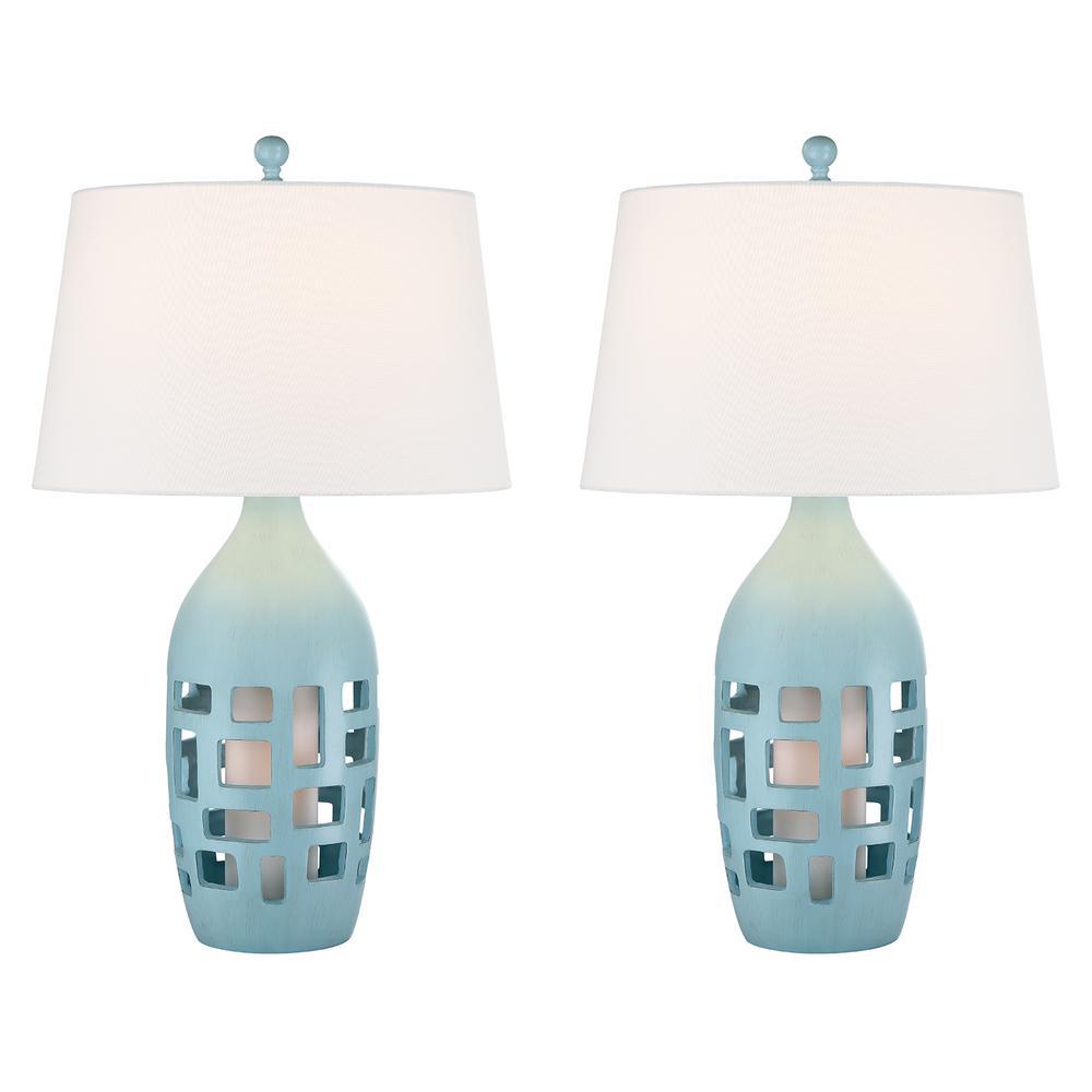 31 in. Glacier Blue Indoor Table Lamp Set