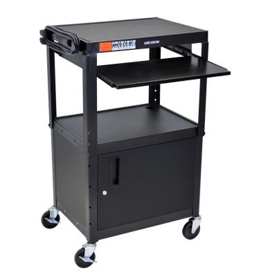 Adjustable Height 24 in. Steel A/V Cart with Cabinet and Pullout Shelf in Black