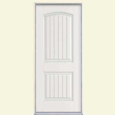 36 in. x 80 in. Cheyenne 2-Panel Left Hand Inswing Primed Smooth Fiberglass Prehung Front Door No Brickmold