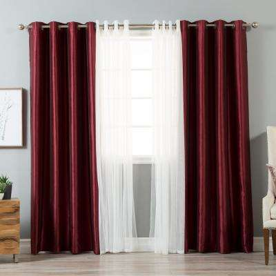 84 in. L uMIXm Tulle and Burgundy Faux Silk Blackout Curtain (4-Pack)