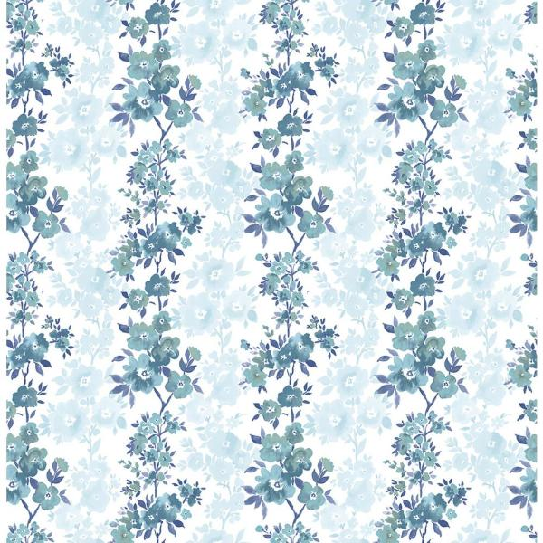 A-Street Charlise Blue Floral Stripe Wallpaper 2657-22252