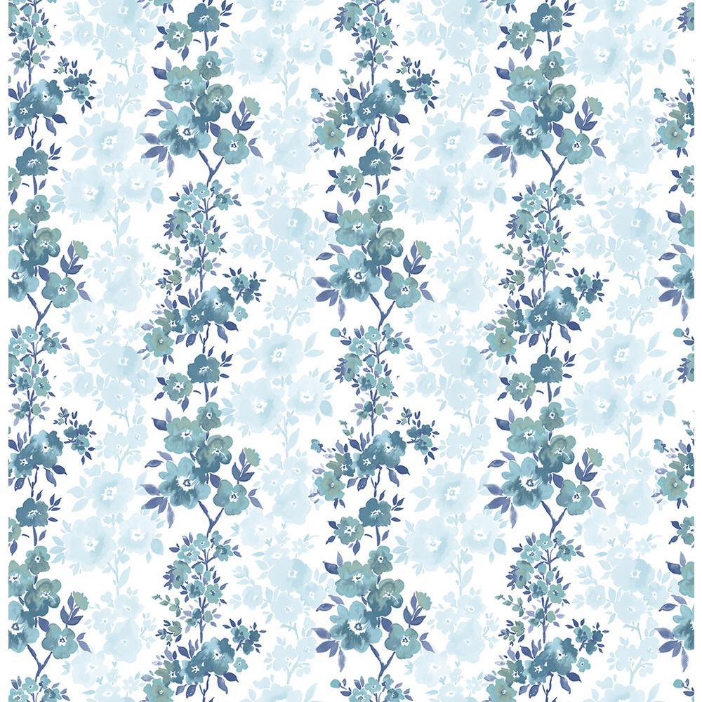 Charlise Blue Floral Stripe Wallpaper Sample