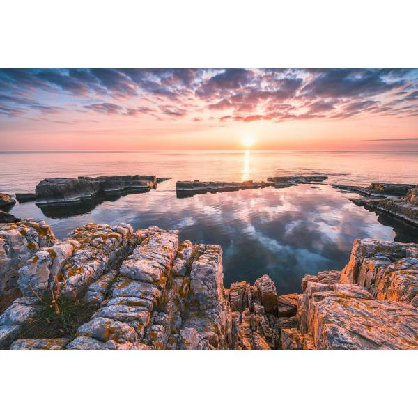 98 in. x 145 in. Multicolor Mirrored Coast Wall Mural