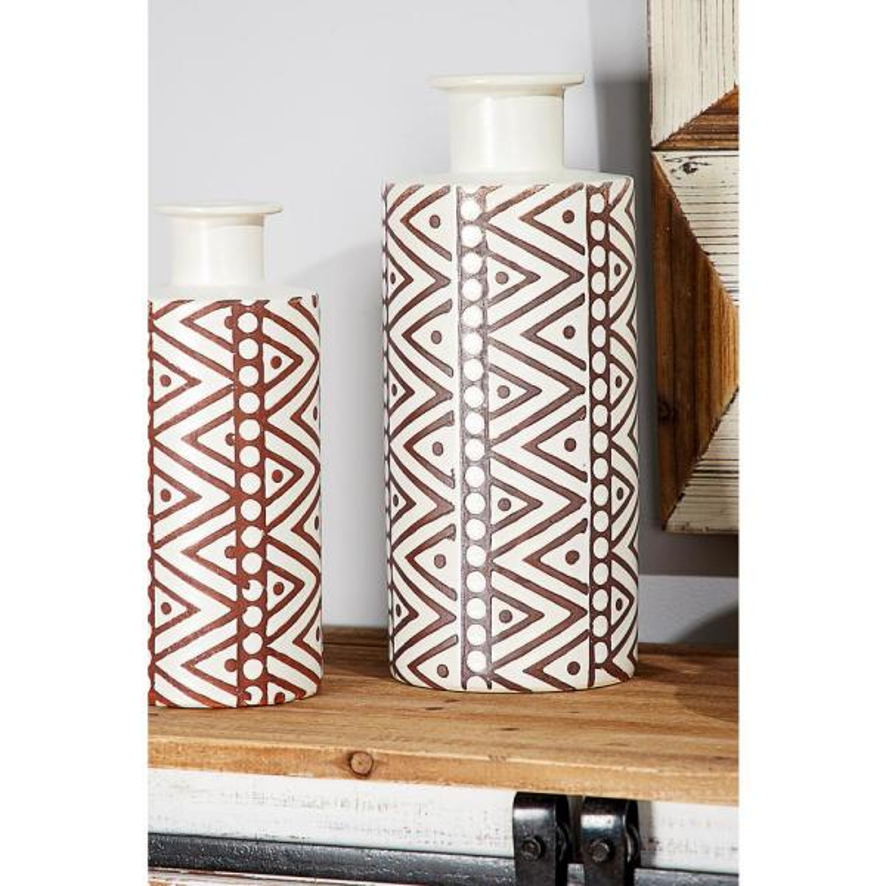 Litton Lane 15 in. Tribal White and Brown Ceramic Decorative Vase