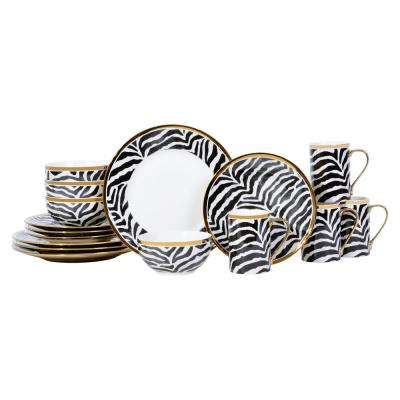 Serengeti Zebra 16-Piece Electropated Gold Porcelain Dinnerware Set