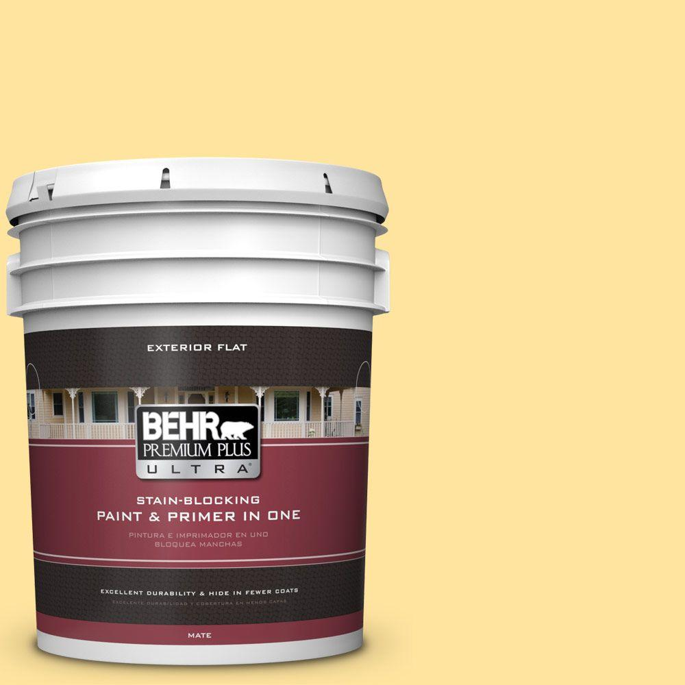 BEHR Premium Plus Ultra 5-gal. #340B-4 Lemon Drops Flat Exterior Paint