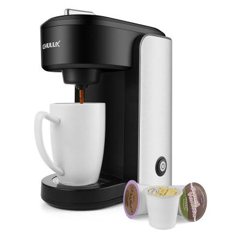 Single Serve Coffee Maker, Stainless Steel Coffee Brewer with Gradient Water Reservoir, Auto Shut Off, 1000-Watt Black