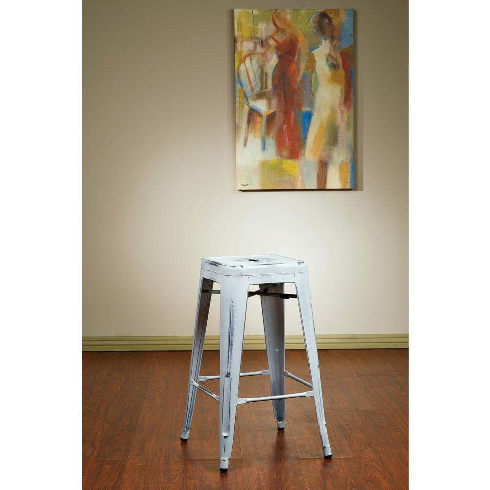 OSP Home Furnishings Bristow 26 in. Antique White Bar Stool (Set of 2) OSP Home Furnishings Bristow 26 in. Antique White Bar Stool (Set of 2)