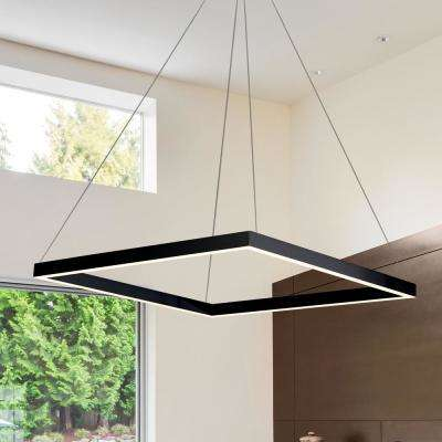 Atria Square 38-Watt Black Integrated LED Chandelier