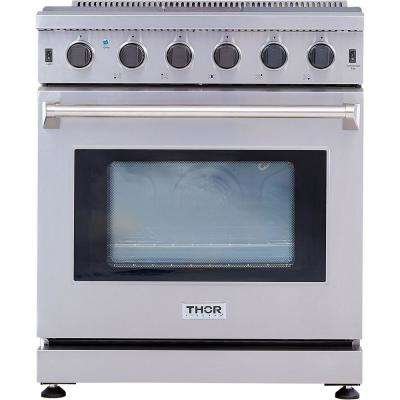 Pre-Converted Propane 30 in. 4.55 cu. ft. Professional Gas Range in Stainless Steel with Five Burners Single Oven