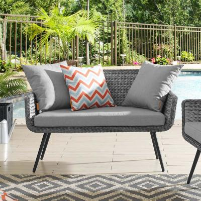 Endeavor Wicker Outdoor Loveseat in Gray with Gray Cushions