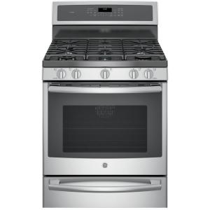Click here to buy GE Profile 30 inch 5.6 cu. ft. Smart Gas Range with Self-Cleaning Convection Oven and WiFi in Stainless Steel by GE.